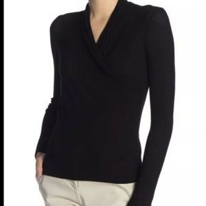 VINCE Long Sleeve Front Wrap Surplice V-Neck Top